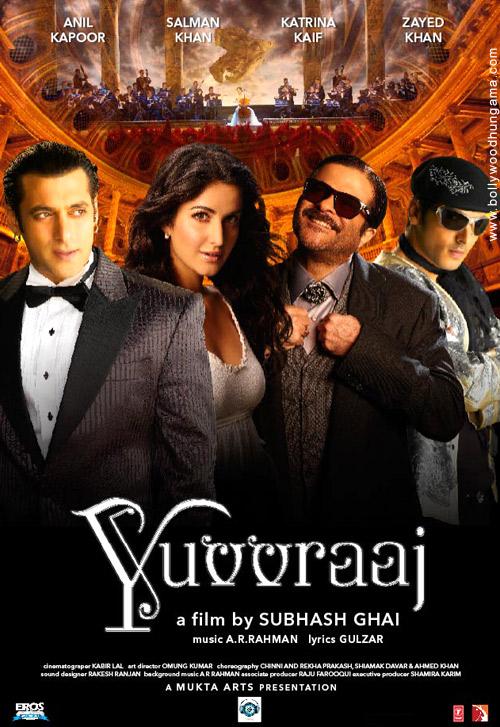 Yuvvraaj, Salman Khan,Anil Kapoor,Katrina Kaif,Zayed Khan,Boman Irani,Mithun Chakraborty,Aushima Sawhney,Subhash Ghai
